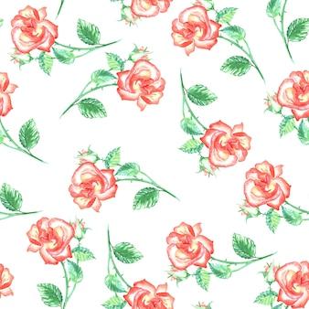 Бесшовный фон с красными розами и зелеными листьями