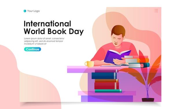 Мировая книжная день, посадка страницы иллюстрация