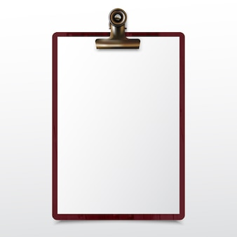 Деревянный буфер обмена с чистым листом белой бумаги реалистичным макетом
