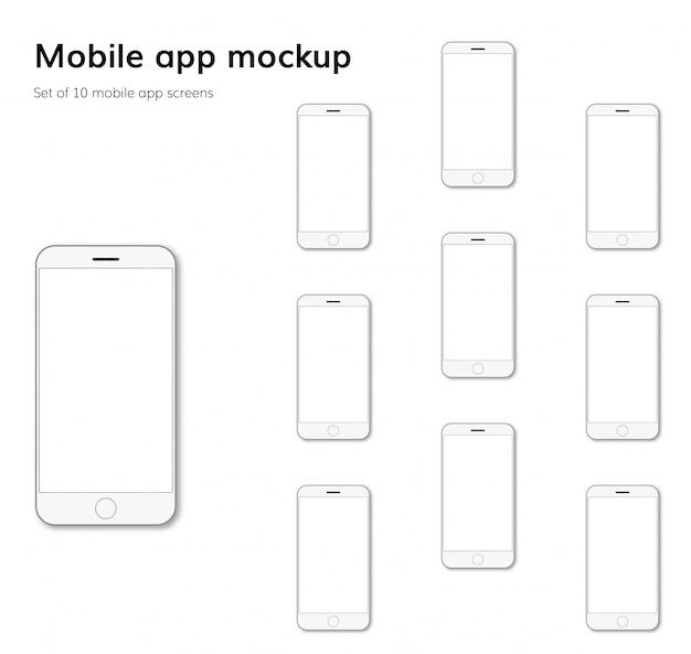 モバイルアプリケーションの画面モックアップ