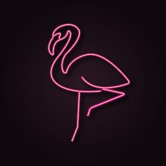 Неоновый вектор фламинго