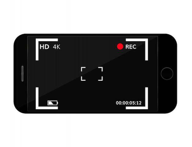 カメラのファインダー付き携帯電話の画面