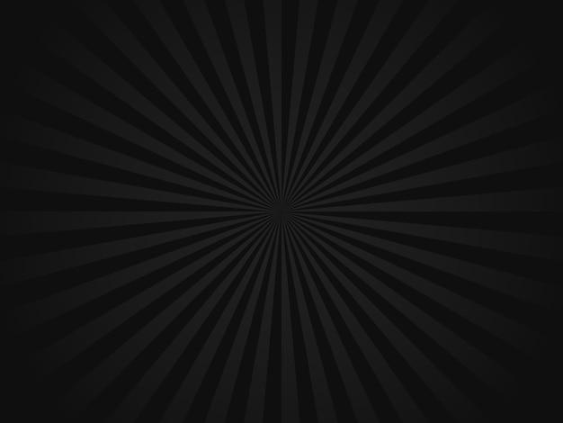Черный ретро фон солнечных лучей