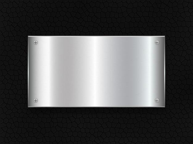 金属板のバナー。革のアイアンタグ