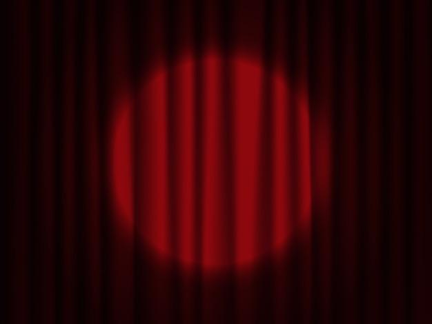 舞台幕にスポットライトを当てます。演劇用ドレープ