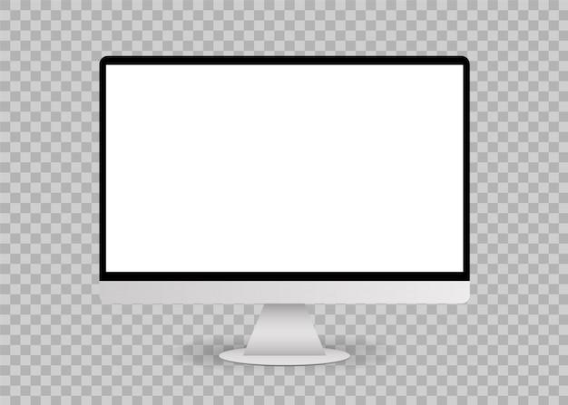 空白の白いコンピューター画面モックアップ