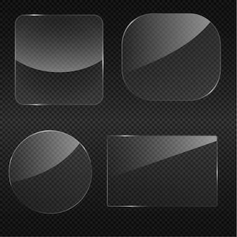 Прозрачное стекло круглый угол квадратная рамка