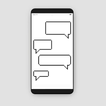 Смартфон с окном сообщений (речевой пузырь)