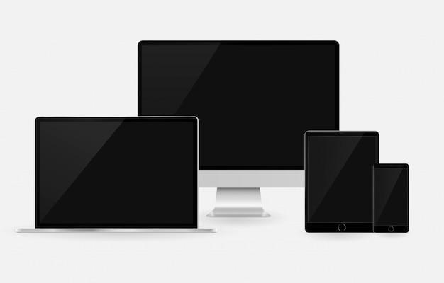 コンピュータータブレットノートパソコンのスマートフォンセットレスポンシブモックアップ携帯電話ガジェットセット