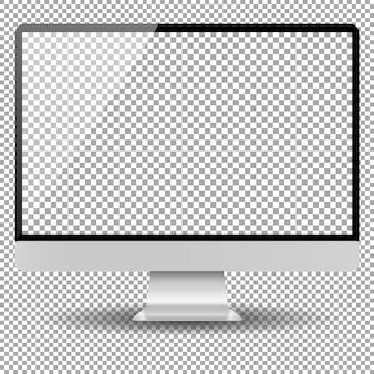 空白のモニター画面のコンピューターのモックアップ