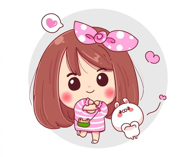 Характер девушки улыбки и белого кролика показывая символ рук жестов влюбленности изолированный на белой предпосылке.