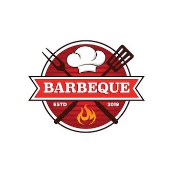 Шаблон логотипа гриль для барбекю