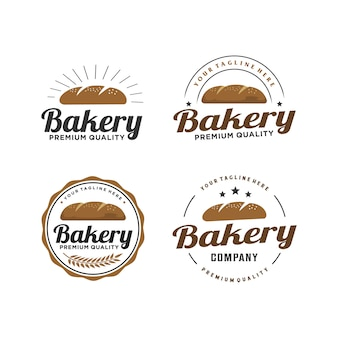 Пекарня / хлеб значок ретро дизайн логотипа