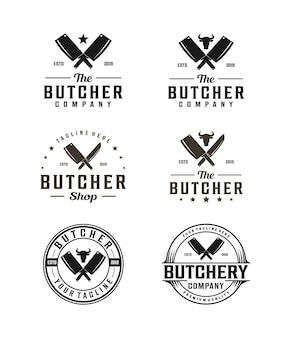 包丁と牛の頭のシルエットと肉屋のロゴ