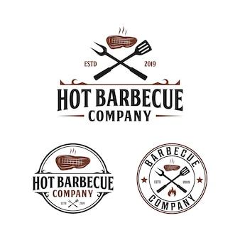 Гриль-барбекю, стейк-хаус, винтажный дизайн логотипа