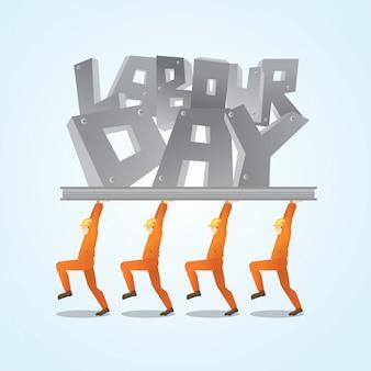 幸せな労働者の日グリーティングカードの背景イラスト