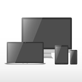 黒い画面を持つデバイスのセット。