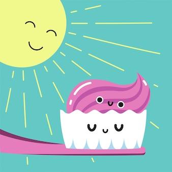 幸せな朝の浴室、慣れた子供カードまたはポスターで歯を磨く