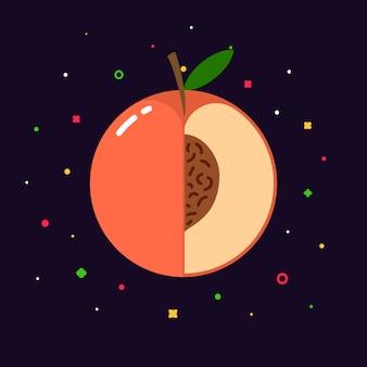 Персиковая сфера с логотипом в половину ломтика, плоская концепция дизайна шаблона