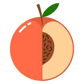 Сфера персика с логотипом половину среза, концепция дизайна плоский дизайн