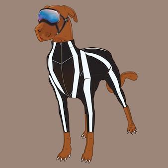 色の背景を持つスペース犬ベクトル図