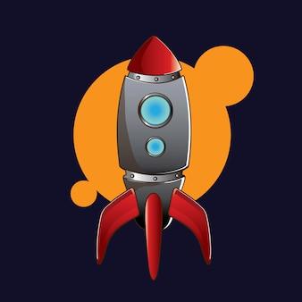 月に向かう赤いロケット