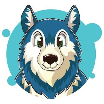 かわいい青いオオカミのアバター