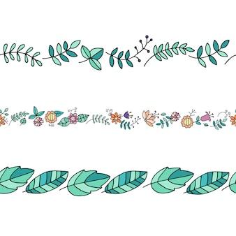 落書きスタイルでシームレスな植物ブラシのセット
