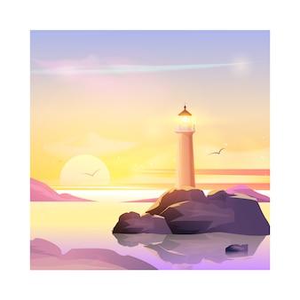 Векторный пейзаж с маяком.