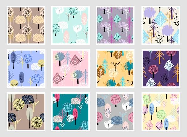 抽象的な森のシームレスパターン。