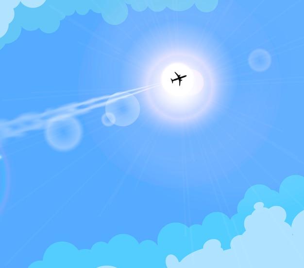 Вектор летающий самолет в солнечном голубом небе.