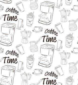 コーヒーのコンセプトと描かれたシームレスパターンを手します。