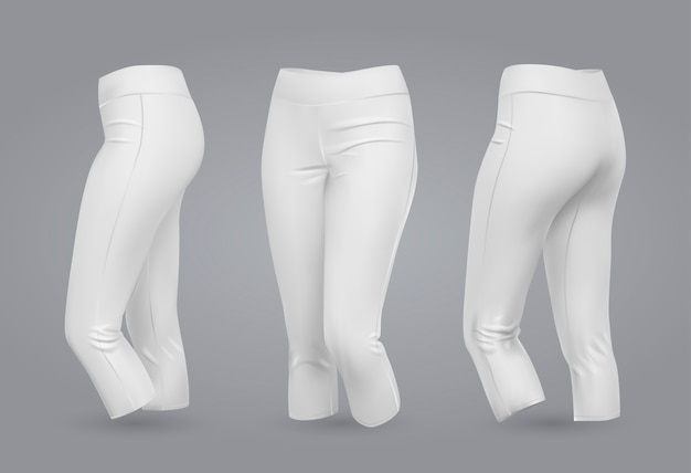 Белые женские леггинсы макет.