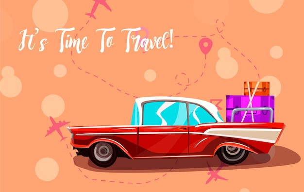 ロードトリップ車で旅行します。