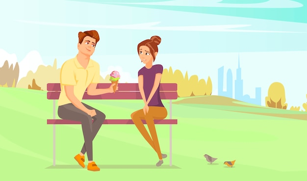 公園でカップル。