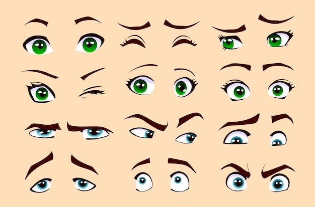 男性と女性の感情。目のセット。
