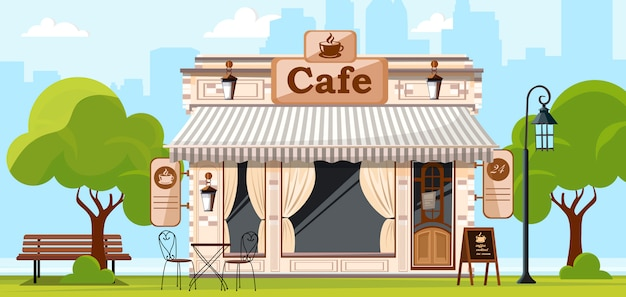喫茶店。コーヒーショップの店やカフェのファサード。都市通りのイラスト。