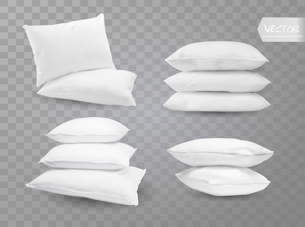 Реалистичные белые подушки.