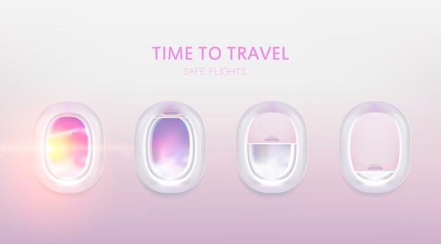 Набор окон самолета. плоские иллюминаторы для баннера. реалистичный осветитель.