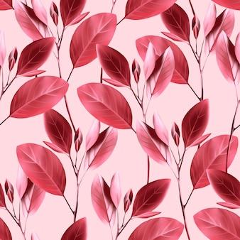シームレスな花柄。ピンクの葉の背景。