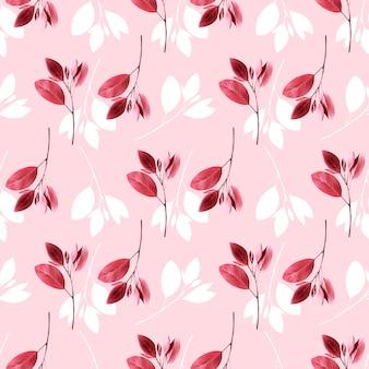 Бесшовный цветочный узор фон с розовыми листьями.