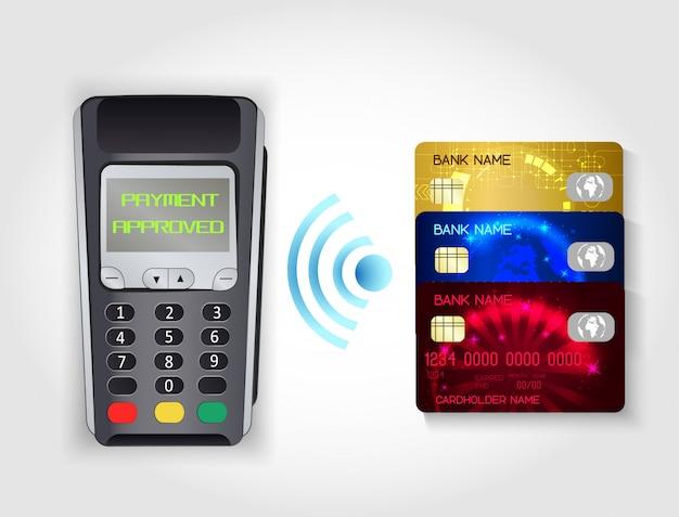 クレジットカードによるワイヤレスモバイル決済。