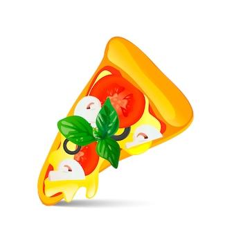 白い背景で隔離のピザのスライス。