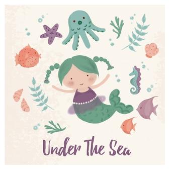海の生き物の下で