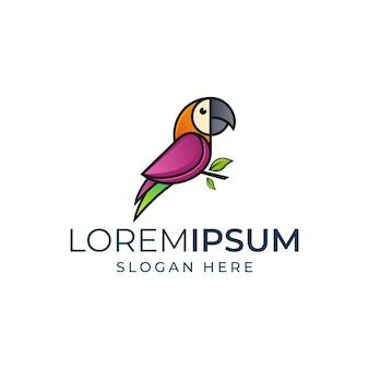 Шаблон логотипа красочный попугай