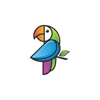 カラフルなオウムのロゴ