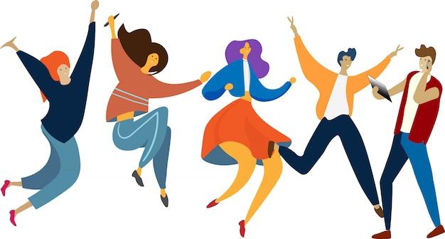 人々の幸せな跳躍のグループ。健康的なライフスタイル、友情、成功、勝利の概念を祝います。