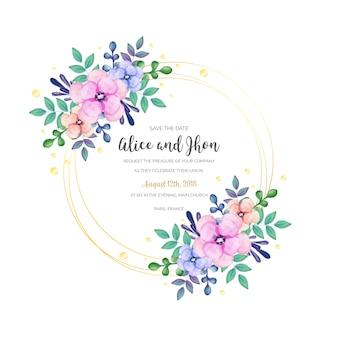 水彩花のウェディングフレーム