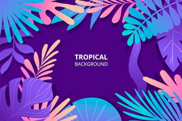 カラフルな野生の葉と手描きの熱帯背景