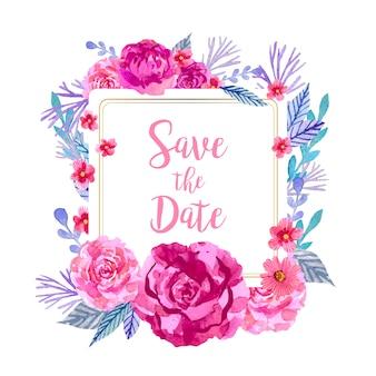 水彩花の装飾と日付の正方形のフレームを保存します